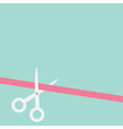 Scissors cut straight ribbon on the left flat vector