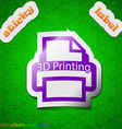3d printing icon sign symbol chic colored sticky vector