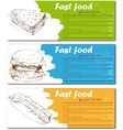 Fast food menu cards with burger hot dog and vector