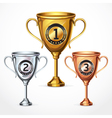 Numbers trophy cup set vector