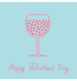 Wine glass with hearts inside love card in flat vector