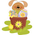 Cute easter with rabbit vector