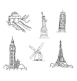 Set of famous world landmarks vector