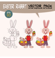 Easter rabbit with painted eggs vector