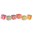 Word puzzle written with alphabet blocks vector