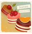 Vintage postcard strawberry chocolate vector