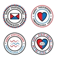 Set of colored seals for postcrossing vector