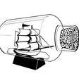 Ship boat in a bottle silhouette vector