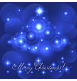 Merry christmas card with blue glowing flares vector
