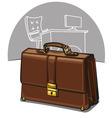 Brown luxury briefcase vector