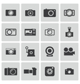 Black camera icons set vector