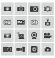 Black camera icons set vector