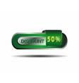 Long green 50 percent discount button vector