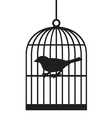 Silhouette bird cages vector