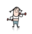 Girl with dumbbells doing exercises cartoon vector