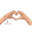 Hands in heart form detailed vector