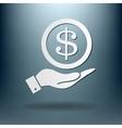 Hand holding a dollar bill symbol of money vector