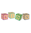 Word kids written with alphabet blocks vector