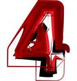 Artistic font number 4 vector