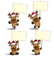 Christmas elks placard vector