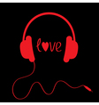 Red headphones with cord on black background vector