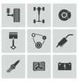 Black car parts icons set vector