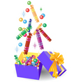 Christmas gift box of candy vector