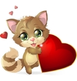 Kitten and heart vector