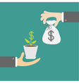 Hands with money tree and moneybag exchanging vector