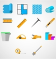 Colored flat icons for working with linoleum vector