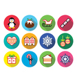 Christmas winter flat design icons - penguin vector