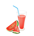 Glass of red watermelon juice and watermelon fruit vector