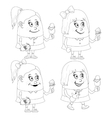 Little girls with ice cream set contour vector