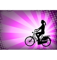 Female bicyclist on the abstract background vector