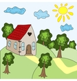 House and summer landscape vector