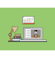 Flat concept of e-learning mobile education vector