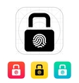 Fingerprint secure lock icon vector