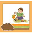 Little boy playing ball vector