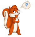 Cartoon cute squirrel thinking vector