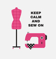 Poster greeting card with sewing accessories flat vector