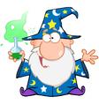 Crazy wizard holding a green magic potion vector