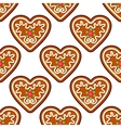 Gingerbread hearts seamless pattern background vector