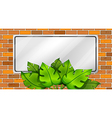 An empty signboard with leaves vector