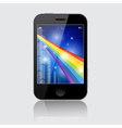 Smartphone with abstract rainbow theme on gr vector