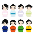 Cartoon geisha set vector