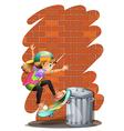 A girl skateboarding near the trashcan vector