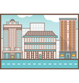 Flat of street landscape homes and road vector