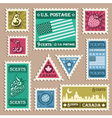 Vintage stamp stickers vector