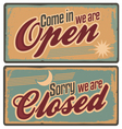 Retro metal signs set for store or shop vector
