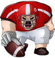 Red white football player kneels and holds ball vector